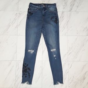 Express Embroidered Floral Distressed Jeans 2R